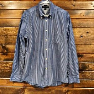 Tommy Hilfiger blue and white stripped button down